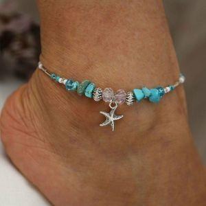 Jewelry - Women Boho Starfish Turquoise Beads Ankle Bracelet